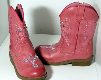 Pink Girl's Cowboy Boots with Swarovski Crystals