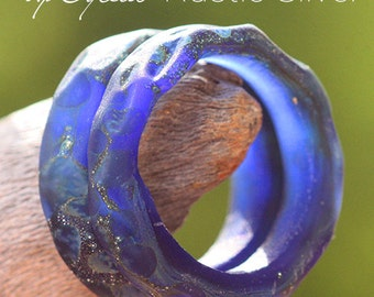 UpCycled Honeycomb SLider Ring lampwork beads MTO from Corralejo glass for Jewelry Design