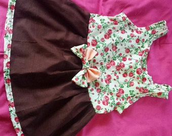 Rosey dress with an open heart back. Size 18-24 months