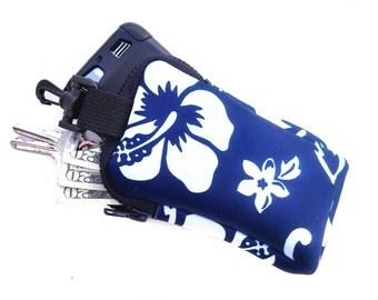 Clip On Tote Neoprene Bag ~ Hibiscus Blue