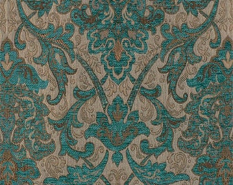 Upholstery Fabric, Drapery Fabric, Tuscan Fabric, Chenille Fabric, Turquoise Damask/Jacquard Fabric, Traditional Fabric, Fabric By The Yard
