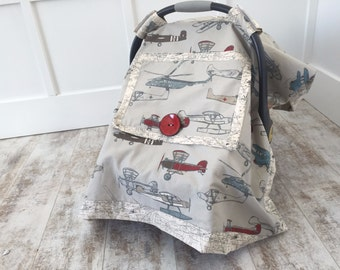 Fly Away - Car Seat Cover Boy - Car Seat Cover Girl - Baby Car Seat Canopy - Baby Boy - Baby Girl - Baby Shower Gift - Airplanes - Colorful