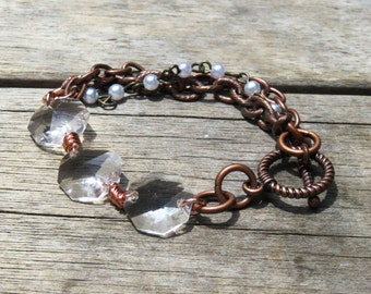Copper Wire Wrapped Crystal Bracelet // Multi Chain Copper Bracelet // Vintage Chandelier Crystal Bracelet