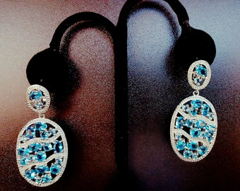 light blue with clear topaz earrings