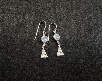 Sterling Silver Triangle Circle Earrings