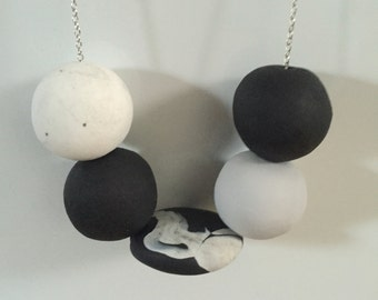 Athlestan Polymer Clay Necklace on Silver Plated Chain; Polymer Clay Jewelry