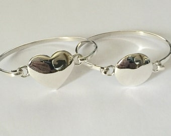 Sterling silver childs heart and circle plain bangles