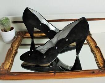 Vintage Neri Italian Black Suede Leather Scalloped Edge Diamante Embellished Heels Pointed Shoes Size UK 5.5  EU 38.5 US 7.5