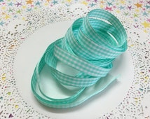 "3/8"" Aqua, Light Mint Green Gingham ribbon - 2 yards x  3/8"" (10mm) wide"
