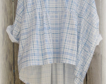 Baby Blue Cotton Blouse with Gathers one size fits most