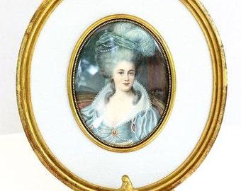 Vintage French Miniature Portrait
