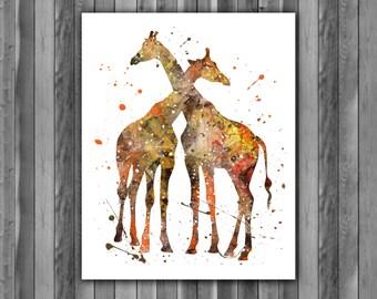 Giraffe Family, Giraffe Love Print, Giraffe art, Giraffe print, animal art, animal decor, Giraffe wall art, watercolor, Giraffe poster