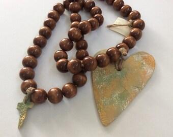 Prayer Beads with Heart & Small Cross