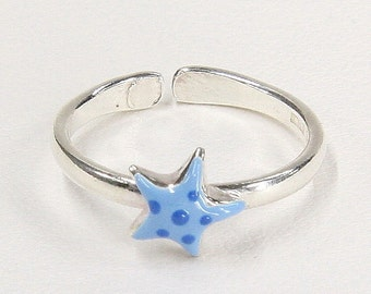 Sea Star Ring, Adjustable Ring for Girls, Glazed Ring, Funny Ring, Sterling Silver 925, Italian Handmade Fashion, Girls Jewelry, 7867