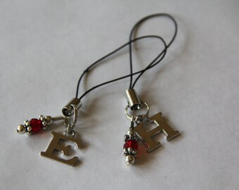 Letter and Gem phone charms