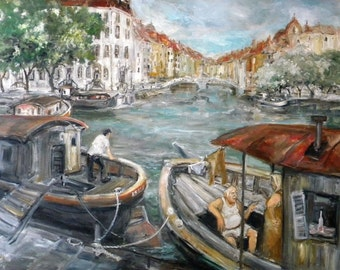 Original Signed Acrylic On Canvas Painting of a Venetian Scene
