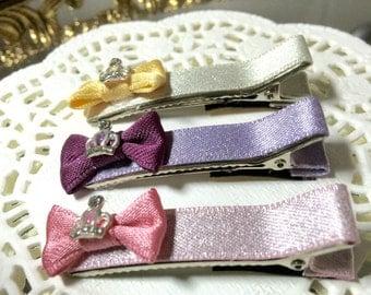 Free gift girls hair clips ribbon mini crown