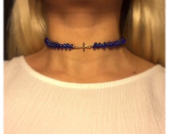 Blue Cross Pendant Choker