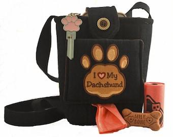 I Love My Dog Embroided Paw Print Cross Body Bag, Dog Walking Bag,  Poop Bag Dispenser, Treat Bag Dispenser - Custom Options Available