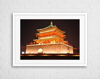 Chinese Temple At Night Art Photo With Frame