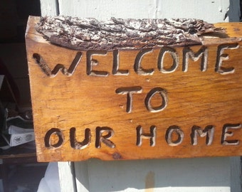 Custom wood welcome sign