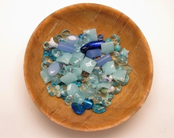 Beads Blue Beads Glass Blue Shades Beautiful Unique Mixed Lots For Jewelry Making Glass Beads Few Shapes Let Your Creativity Fly!Over 200 G