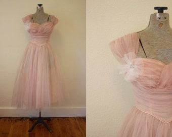 1950s Prom Dress // Pink 50s Homecoming Dress // Tulle 50s Pink Dress