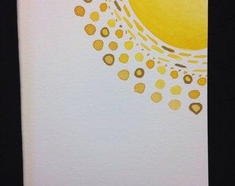 Golden Sun Watercolour Print Card - BLANK INSIDE