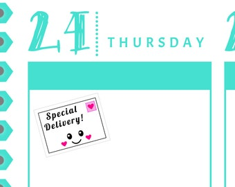 Special Delivery Planner Reminder Stickers {24 Fancy Matte or Glossy Planner Stickers} | #16-44