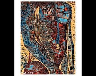 Art print digital gay Creation - Male art - male nude - 56 - 24 x 32 cm on A3