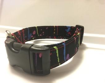 Dog Collar, Multi Color, Paint Splatter