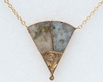 Victorian Gold-in-Quartz Fan Necklace