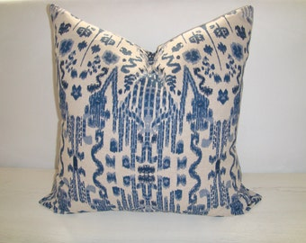 Ikat Indigo Blue and Oatmeal Designer Decorative Pillow Cover