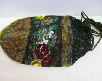 Vintage Rose Floral 1920's Flapper Great Gatsby Beaded Purse