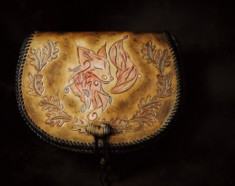 Handmade leather crossbody bag, hand engraved with red fox