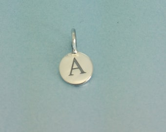 Sterling silver initial disc charm. Sterling silver initial charm. Silver Letter Charm. 925 Sterling Alphabet Charm