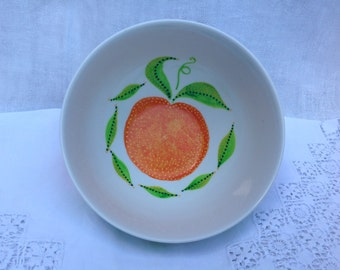 China bowl with oranges. Hand painted.