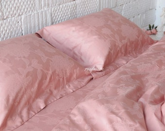 Pink bedding Pink Linens Duvet Cover Set Pink duvet cover Pink bed sheet 100% cotton satin Pure linen bedding wedding gift for mom