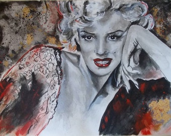 Original,watercolor, Marilyn Monroe,Marilyn Monroe painting,famouw people painting,famous people watercolor,famous people art