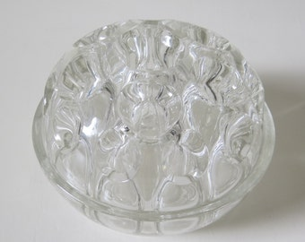 Vintage French Heavy Glass Flower Frog