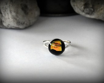Dichroic Glass Adjustable ring-ring/glass jewel
