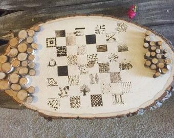 Wood burned Checker Board