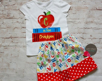 Back to school outfit , personalized school shirt , toddler girl outfit , apple shirt , alphabet skirt , kindergarten ready