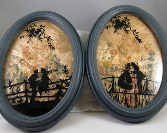 2 Antique Reverse Painted Silhouette  pictures dated 1938