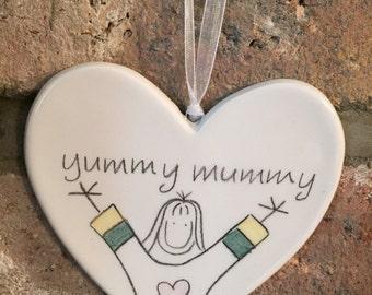 Hand drawn Ceramic Heart - Yummy Mummy