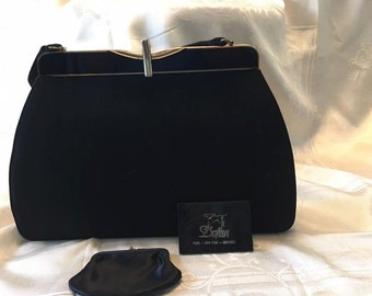 Vintage Dofan black cloth covered purse with black lacquer and gold tone accents