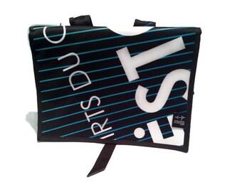 White turquoise back medium black bag
