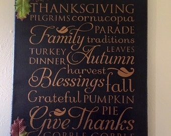11x14 canvas Thanksgiving word collage sign