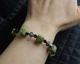 "Swarovski Crystal bracelet ""Cube Ceramic Marbled Yellow"""