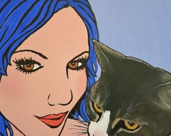 Angel and Devil Cat - Pop Art by Jane Ianniello